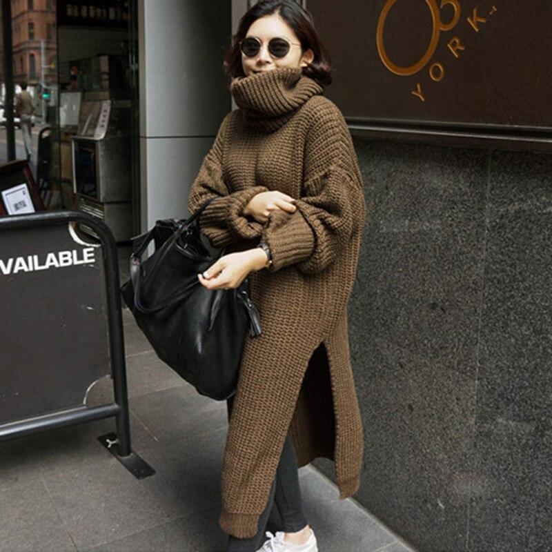 Long chandail surdimensionné pour les femmes chaud hiver manteau femmes épais Split col roulé pull robe pulls dames pull automne 2019