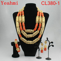 2018 African Jewelry Sets Nature Coral African Beads Nigerian Gold Balls Dubai Wedding Jewelry Sets Bridal Jewelry CL380 1