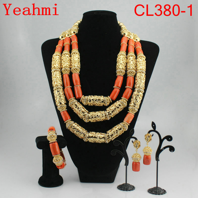 2018 African Jewelry Sets Nature Coral African Beads Nigerian Gold Balls Dubai Wedding Jewelry Sets Bridal Jewelry CL380-1 цены онлайн