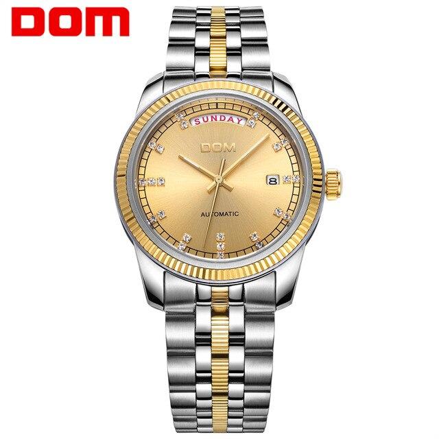 ФОТО  2017 DOM Fashion Casual Man Stainless Steel Waterproof Mechanical Wrist Watch Top Brand Man Business Style Clock Montre Homme