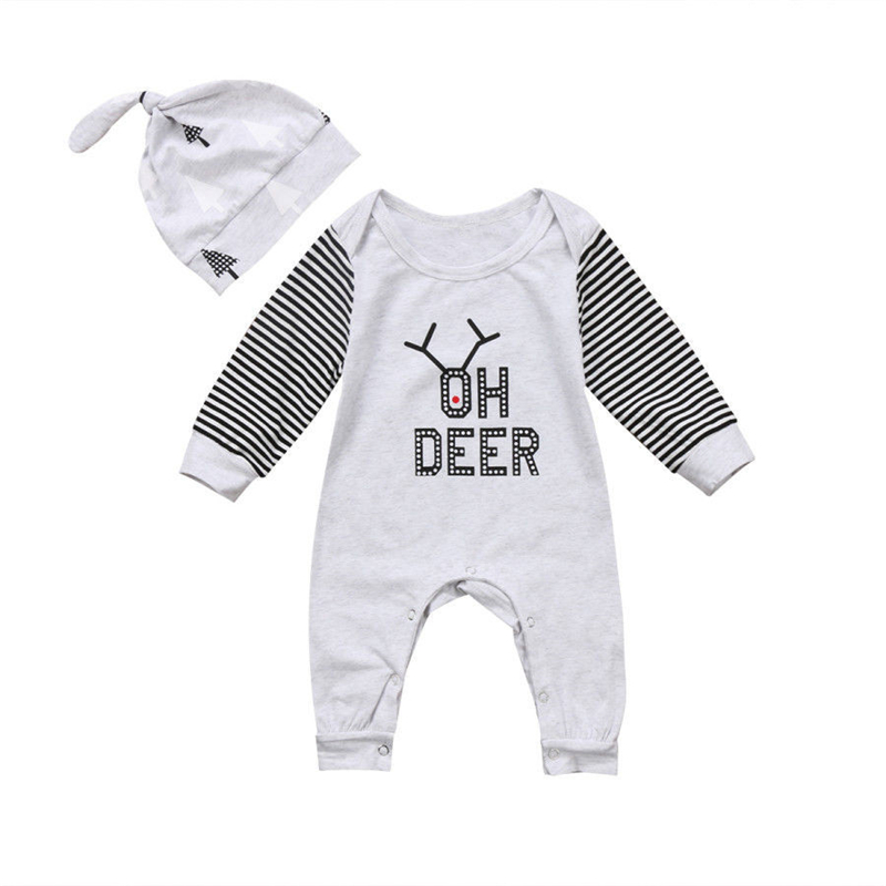 Baby Unisex Fall Romper+Hat Newborn Baby Boy Girl Long Sleeve Romper 2017 New Cotton Jumpsuit Bebes Body Suit For Newborns 0-2T