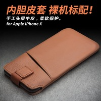 Genuine Cow Skin Phone Pouch Money Wallet Card Pocket Bags For IPhone X Natural Cowhide Leather