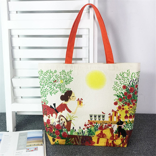 Free Shipping Cotton White with Vintage Lady Pattern Portable Shopping Bags Women Shoulder Bags Handbags ZZ199