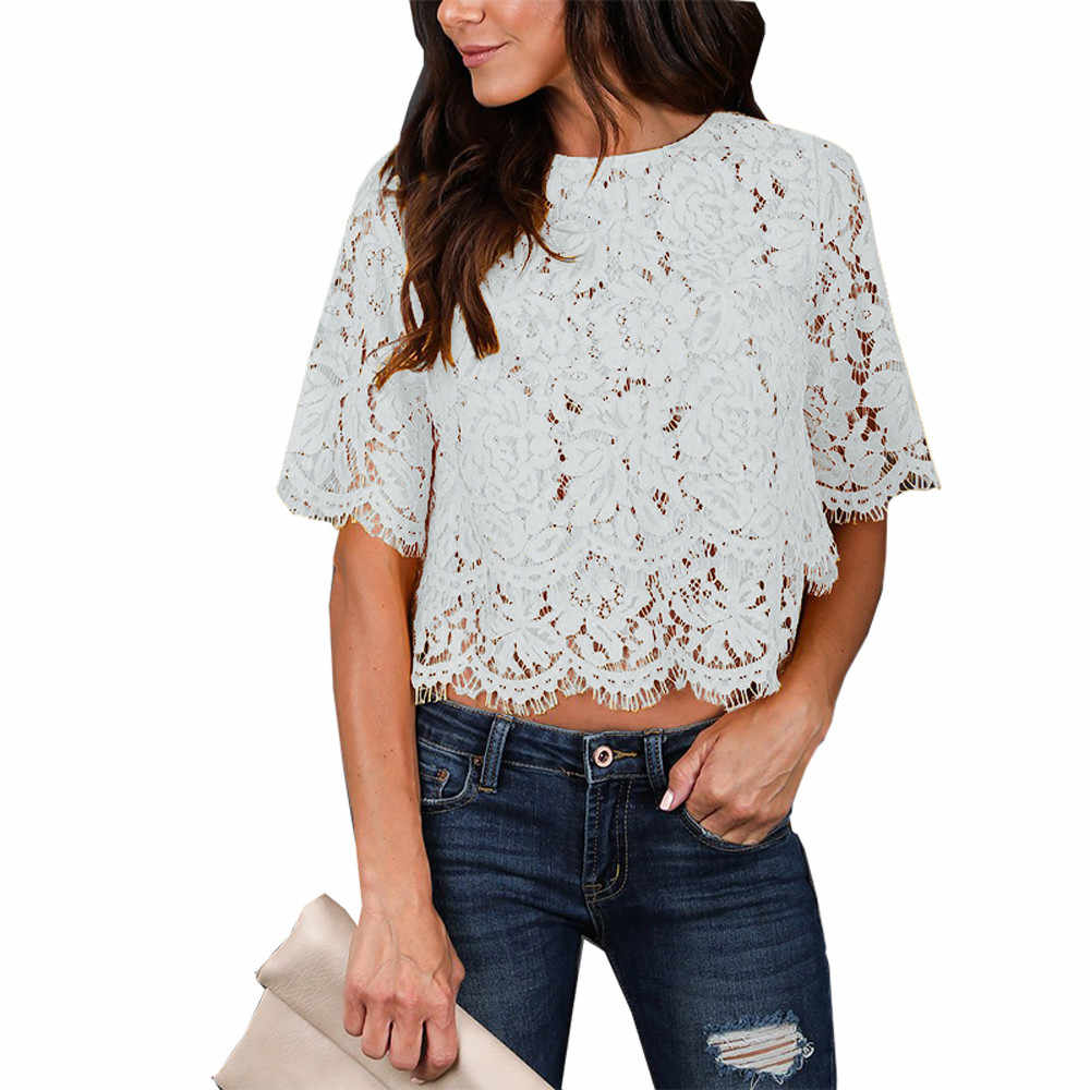 mujer verano 2019 Women's Casual Solid Short Sleeve Floral Lace Shrug Open Front Bolero Cardigan womens tops