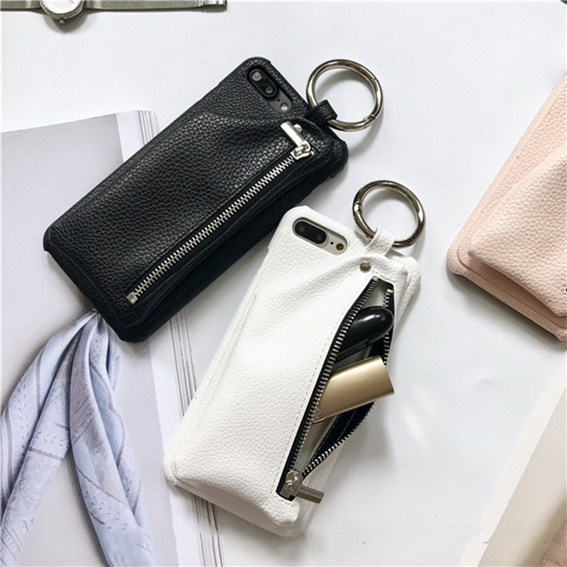 Phone Cases for iPhone 7 7Plus Litchi Pattern PU Leather Zipper Coin Purse Wallet Case w