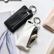 Телефонные Чехлы для iPhone 7 7 Plus Личи шаблон из искусственной кожи на молнии портмоне кошелек Дело W кольцо для iPhone 6 6 s 6 Plus 6splus крышка
