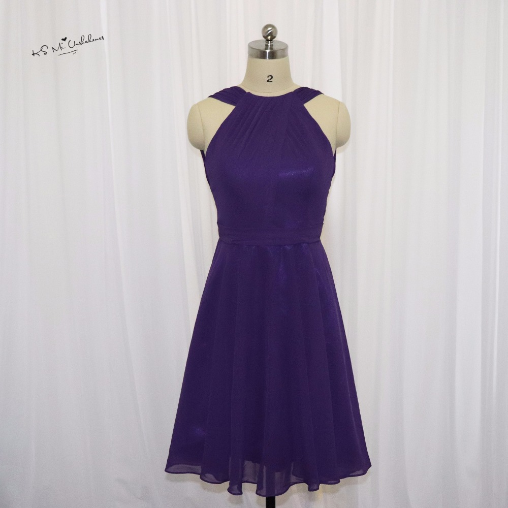 ᐂModest púrpura Vestidos de dama de honor corto Vestidos de fiesta ...