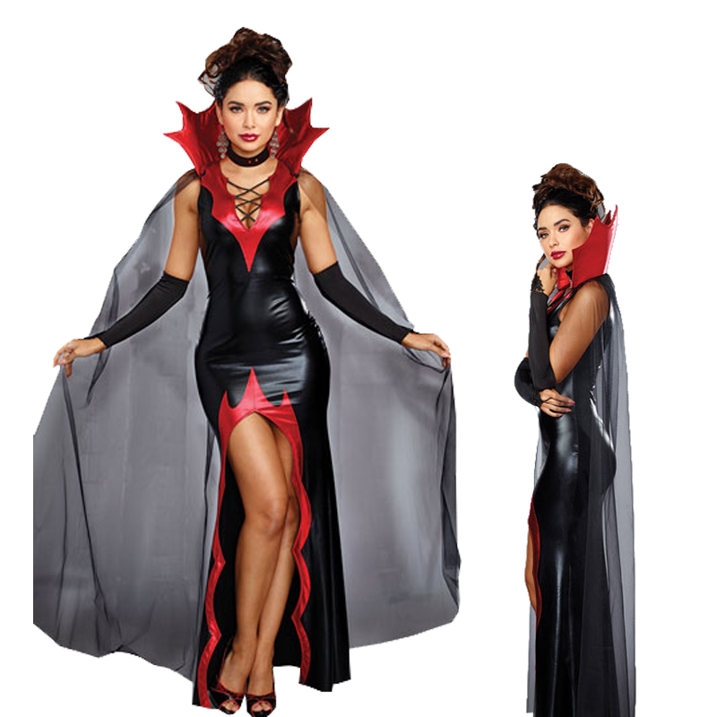 Black Devil Costumes Europe Vampire Adults women Cosplay Outfit For Halloween Carnival Party Role Play Costumes PU leather