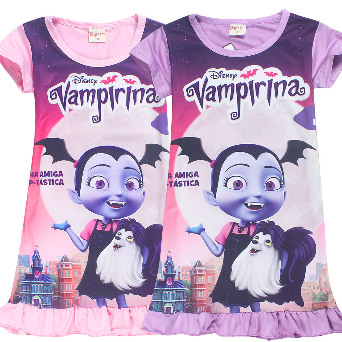Princesa niñas vestido 2018 nueva moda verano Vampirina imprimir ...