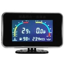 Universal 4in1 LCD Car Digital ALARM Gauge Voltmeter Oil Pressure Fuel Water Temp 12-24V cable Plastic Shell temperature Sensor
