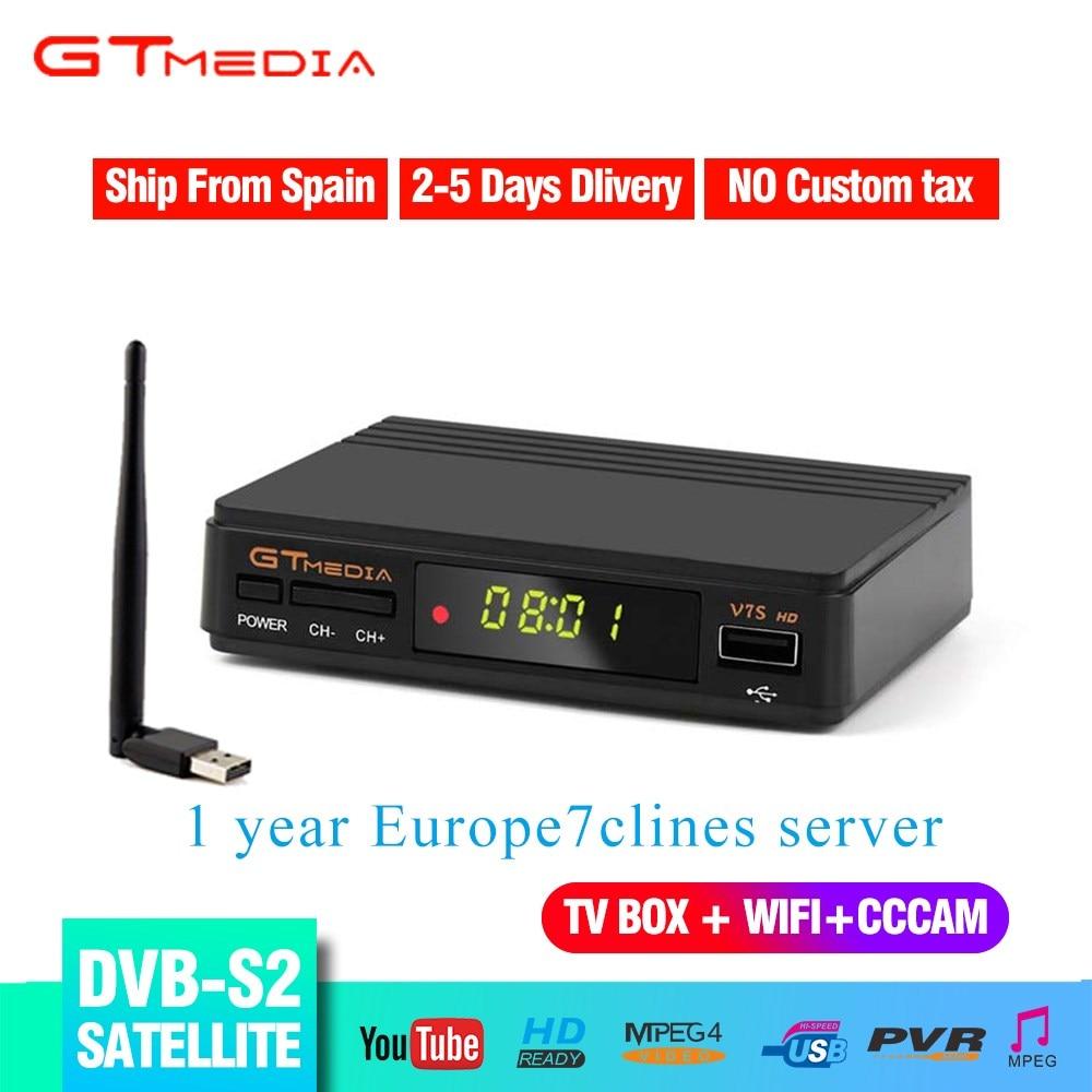 Free 1 Year Europe 7 Lines+DVB S2 V7S HD 1080p Satellite TV Receiver Support YouTube CCCAM DVB S2 V7S Freesat HD TV Box+USB WIFI