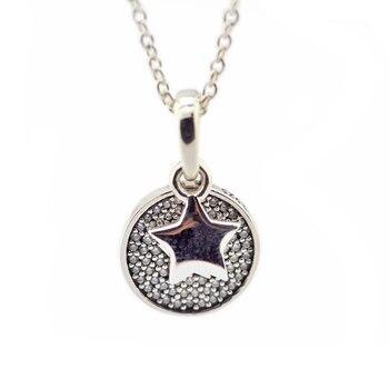 28f649fd4550 Pandulaso celebración estrellas collares gargantilla para mujeres de moda  joyas de plata 925 CZ claro redonda de cristal collares y colgantes