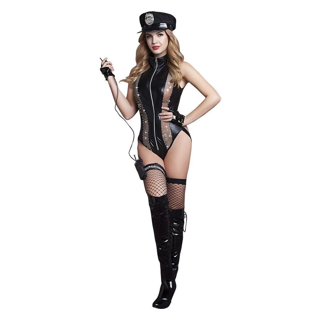 Nouveau chaud vinyle cuir Police femmes Costume Halloween robe de nuit Clubwear Sexy Lingerie ensemble vêtements exotiques body ouvert entrejambe