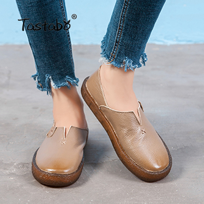 Tastabo 2018 Loafers Casual Flat Shoe Pregnant Women Shoe Female Women Flats Hand-Sewing Shoes genuine leather flats for ladiesTastabo 2018 Loafers Casual Flat Shoe Pregnant Women Shoe Female Women Flats Hand-Sewing Shoes genuine leather flats for ladies
