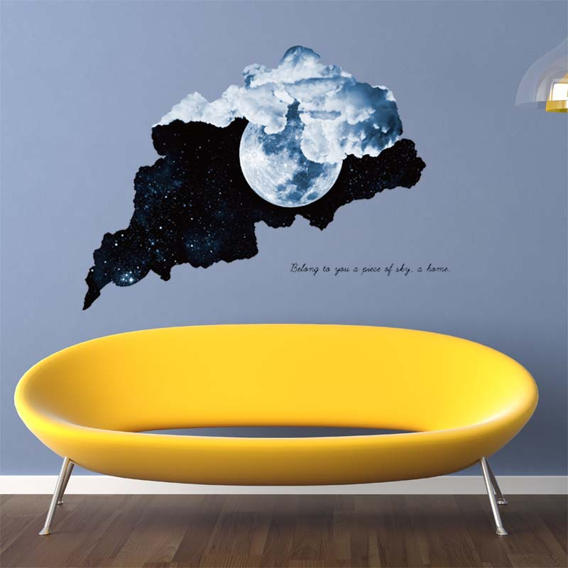 New 3D Tear So Cool Moon Stereoscopic Wall Sticker Foreign Trade Home Decoration PVC Waterproof Wall Sticker