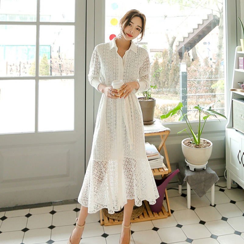 Vintage Hollow-out Lace Women Long Dress Bandage Elegant Mermaid Female Dress Full Sleeve Vestidos