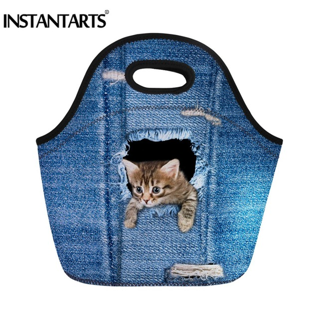 INSTANTARTS Cute Cat Thermal Insulated 3D Print Picnic Bag Tote Lunch Food Box for Women Travel Kids School Sports Handbags
