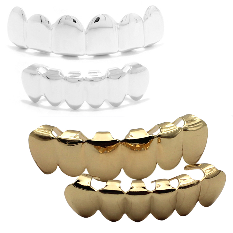 REAL SHINY! 2pcs REAL GOLD PLATED HIPHOP TEETH GRILLZ TOP & BOTTOM GRILL SET Bling Mouth Silver Custom Teeth Caps Hip Hop Grills