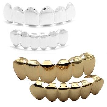 Wakacara zlaté barvy hiphop grillz horní a dolní zubní módní bling mědi  zuby čepice 2set tělo feminino femme  649540e933