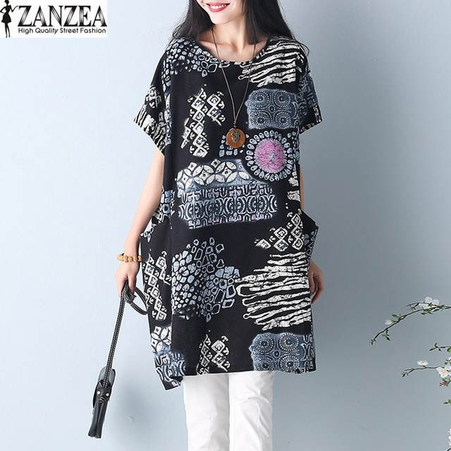 ZANZEA Summer Dress 2018 Floral Print Short Sleeve Cotton Linen Loose Casual Party Mini Women Dress Beach Vestido Plus Size Robe