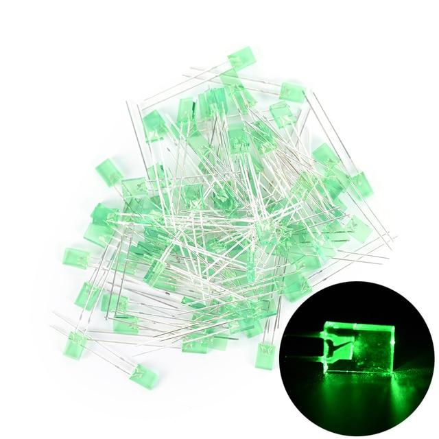 100pcs Rectangular Square LED Emitting Diodes Light LEDs Bulbs Water Clear fQ