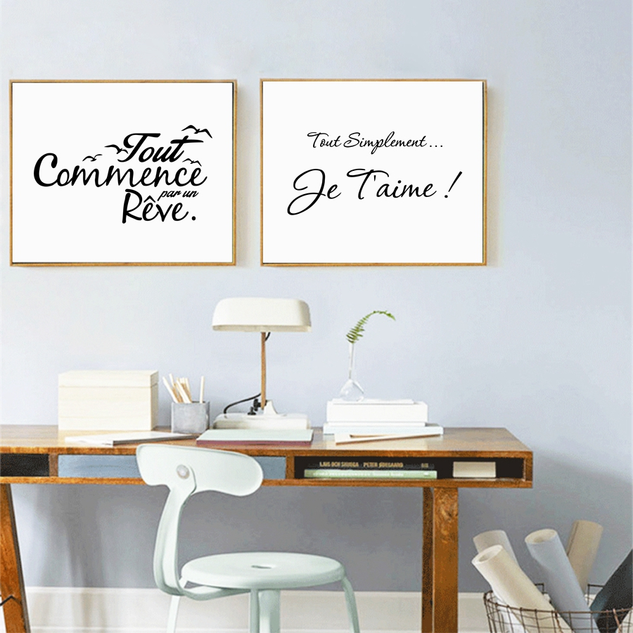French Inspiration Quote Poster Canvas Painting Modern