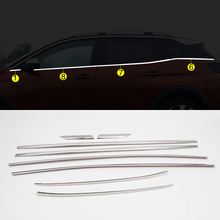 For Peugeot 3008 GT 2017 2018 2019 Bottom Window Trims Decoration Strips Cover 8pcs Car Styling Accessories