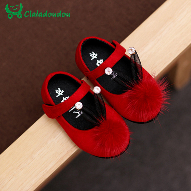 Baby Girl First Walkers Moccasins Crib Shoes Fur Ball Crystal Stone Red Princess Kids Sneakers Infant Girl Toddler Polo Shoes