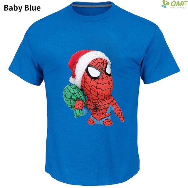 d3ea9a52 Christmas Spiderman Cartoon Skateboarding T-Shirts Santa Spiderman Sports T  shirt Men Gym T Shirts Short Sleeve Running T-shirt