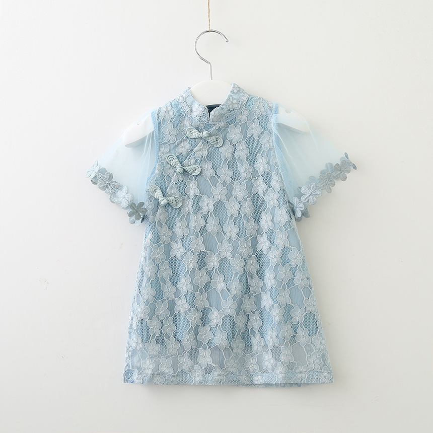 Девушка цветок кружева с расклешенными рукавами платье Чонсам 2018 Новая летняя детская одежда Мода, Дети, Платья для девочек