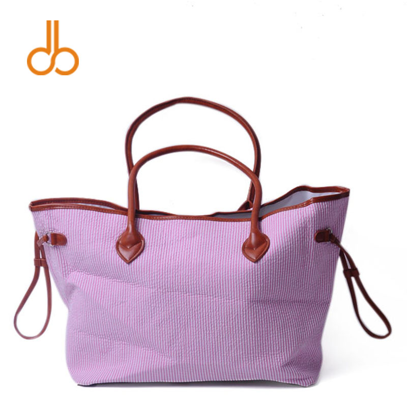 Seersucker Material Women <font><b>Handbag</b></font> Pink Navy <font><b>Aqua</b></font> Tote Bag Fashion Shopping Bag DOM103430