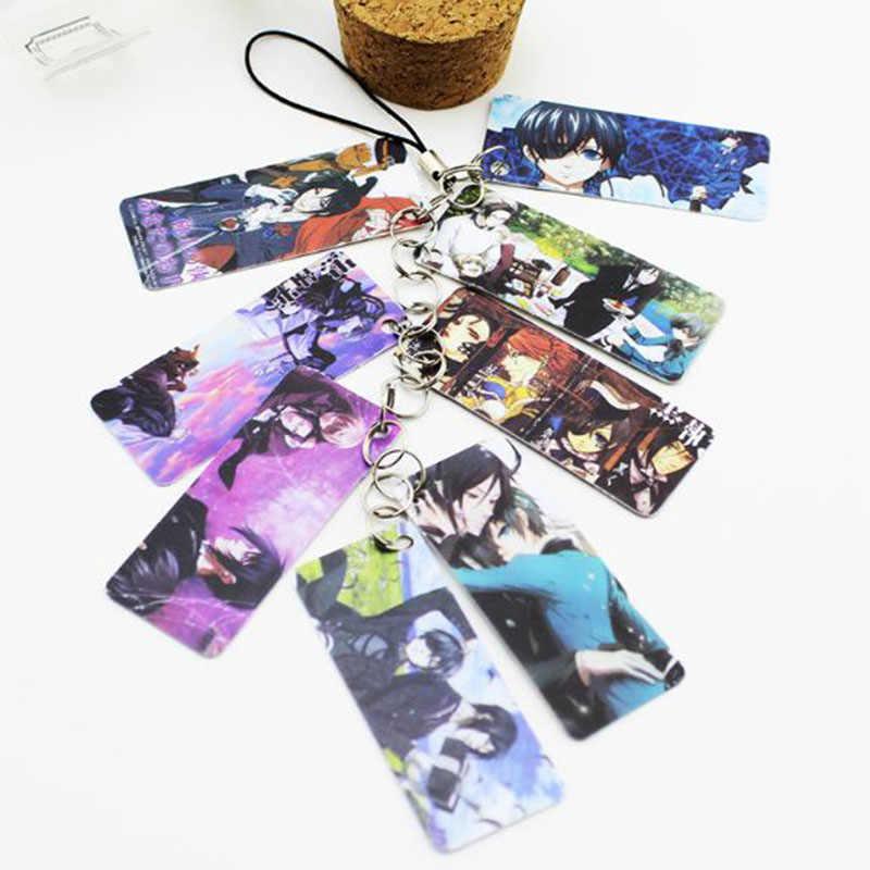 1 Pc Venta caliente Anime Kuroshitsuji negro Butler foto PVC 8 tarjetas cadena llavero mujeres bolso accesorios figura juguete