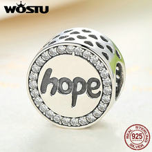 "Aliexpress Hot Sale 100% 925 Sterling Silver ""Hope"" Charm Beads Fit Original WST Bracelet Bangle Authentic Luxury Jewelry(China)"