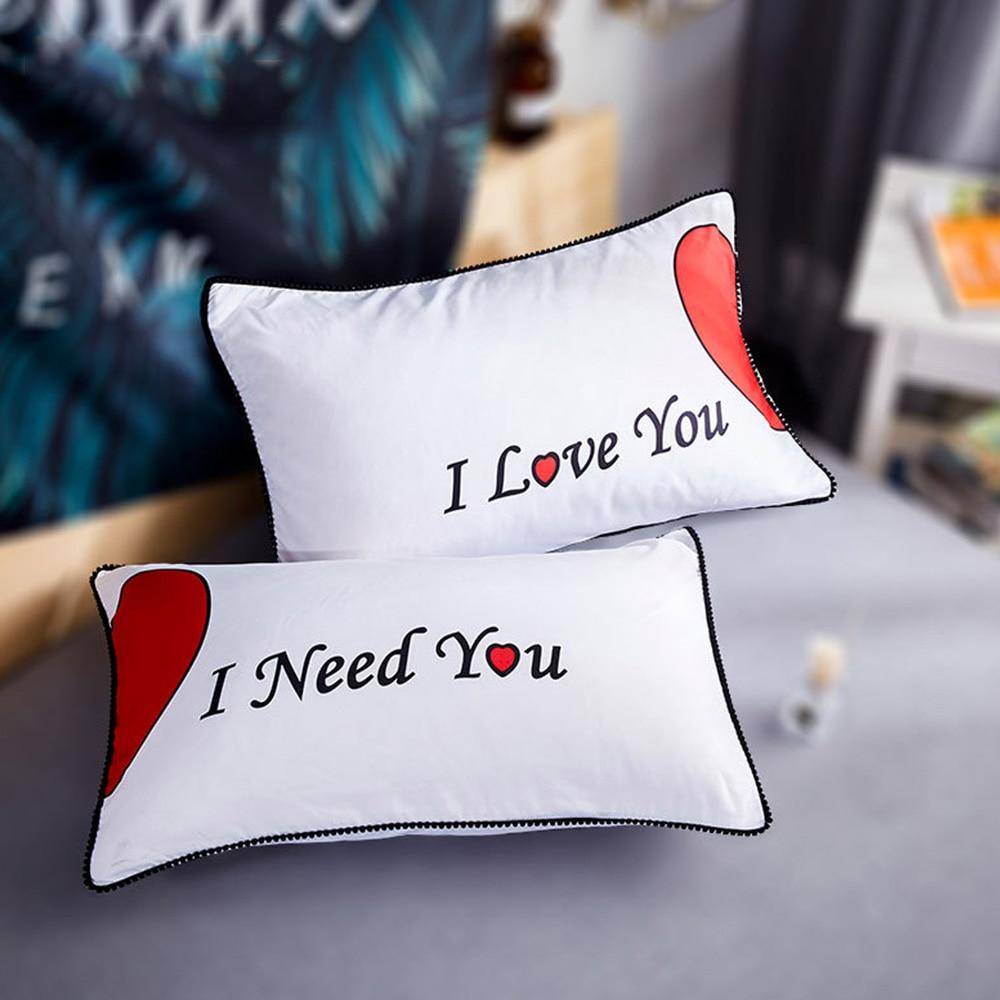 2pcs/set Europe Bedding Pillowcases Lovely Fashion Pillow Cover Wedding Valentine's Gift Couple Queen White Sleeping Pillowslip