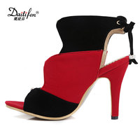 Daitifen Rome Sexy Mixed Color Leopard High Heel Gladiator Women Shoes Fancy Flock Lace Up Gladiator