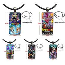Japan Anime Dragon Ball Super Poster 2018 For Women Men Glass Cabochon Choker Pendant Rectangle Necklace Steel Color Jewelry(China)