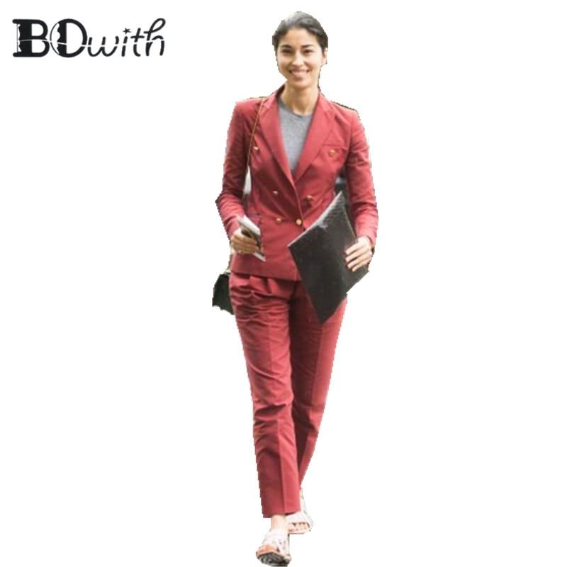 Custom Made 2 Piece Set (Jacket+Vest) Russet-Red Women Elegant Pants Suits Ladies Business Pant Suits Formal Office Suits