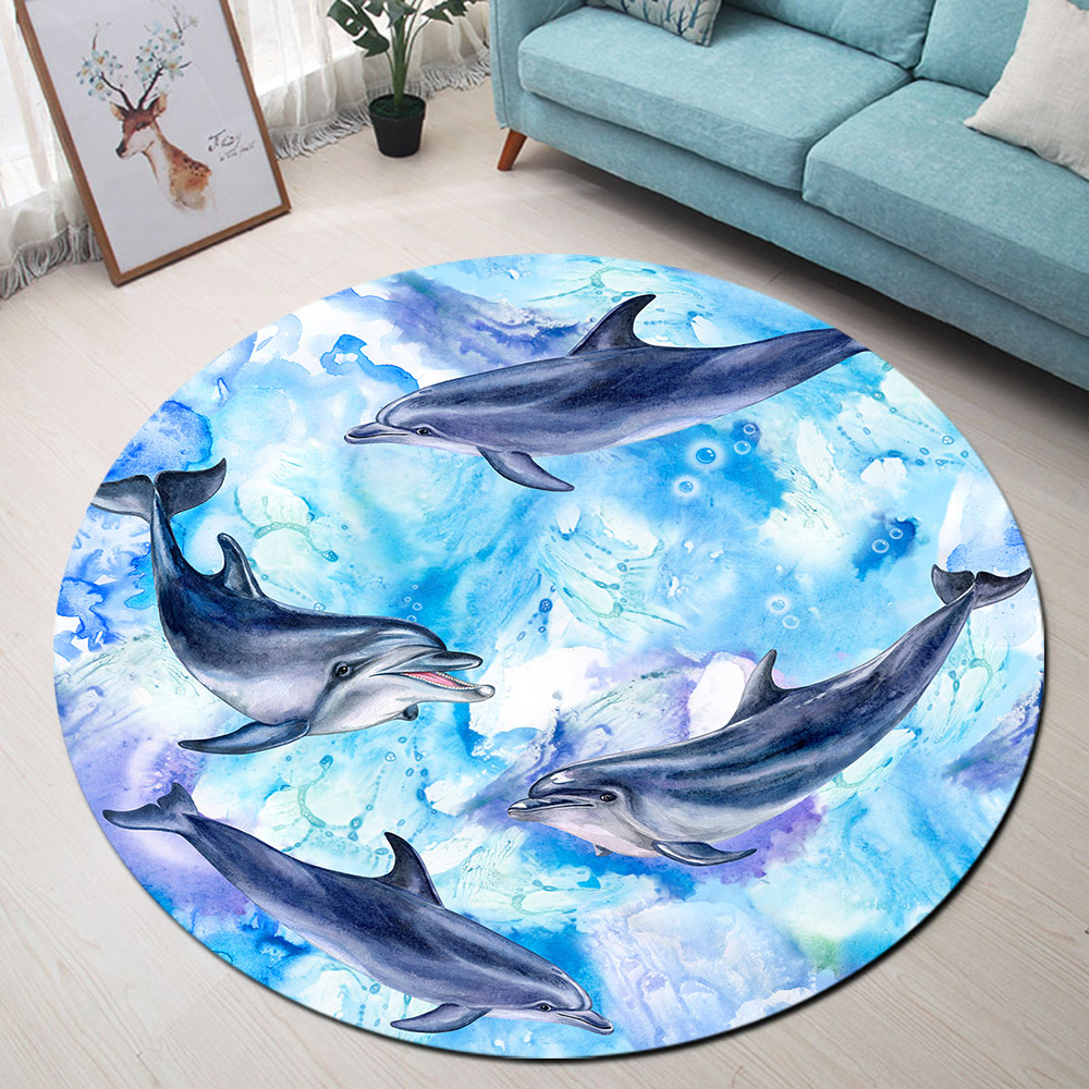 Blue Dolphins Round Rugs And Carpets