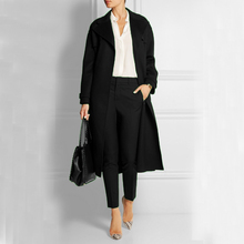 Elegant Ultra Long Black Women Woolen Jacket ON SALE for Stock Clearance