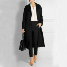 Elegant Ultra Long Black Women Woolen Jacket ON SALE for Stock Clearance
