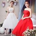 Vintage Style Кружева Чай Длина Короткие Свадебные Платья Свадебные Платья свадебные платья noiva Сшитое белый кот красный плюс размер BB72
