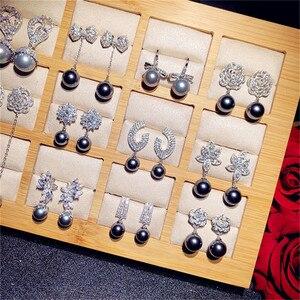 Sólido S925 de Pendientes Vintage con forma de gota para las mujeres Zirconia cúbica gris oscuro de agua dulce perlas de joyería fina de alta calidad