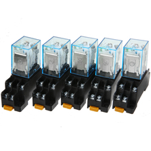 цена на Hot Sale 5 Set General Purpose 12V DC Coil Power Relay LY2NJ DPDT 8Pin HH62P JQX-13F With Socket Base Sealed