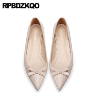 bow genuine leather nude china ladies women flats shoes with little cute bowtie pointed toe custom designer patent work slip on