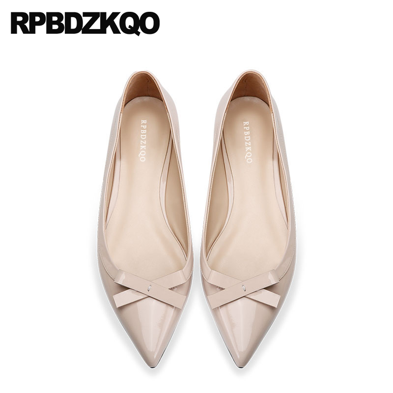 bow genuine leather nude china ladies women flats shoes with little cute bowtie pointed toe custom designer patent work slip on odetina 2017 new designer lace up ballerina flats fashion women spring pointed toe shoes ladies cross straps soft flats non slip