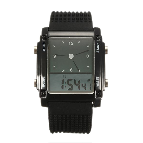 Top Deals Flash Dual Time LCD Digital Date Day Alarm LED Men Boys Sport Wrist Watch Gift image