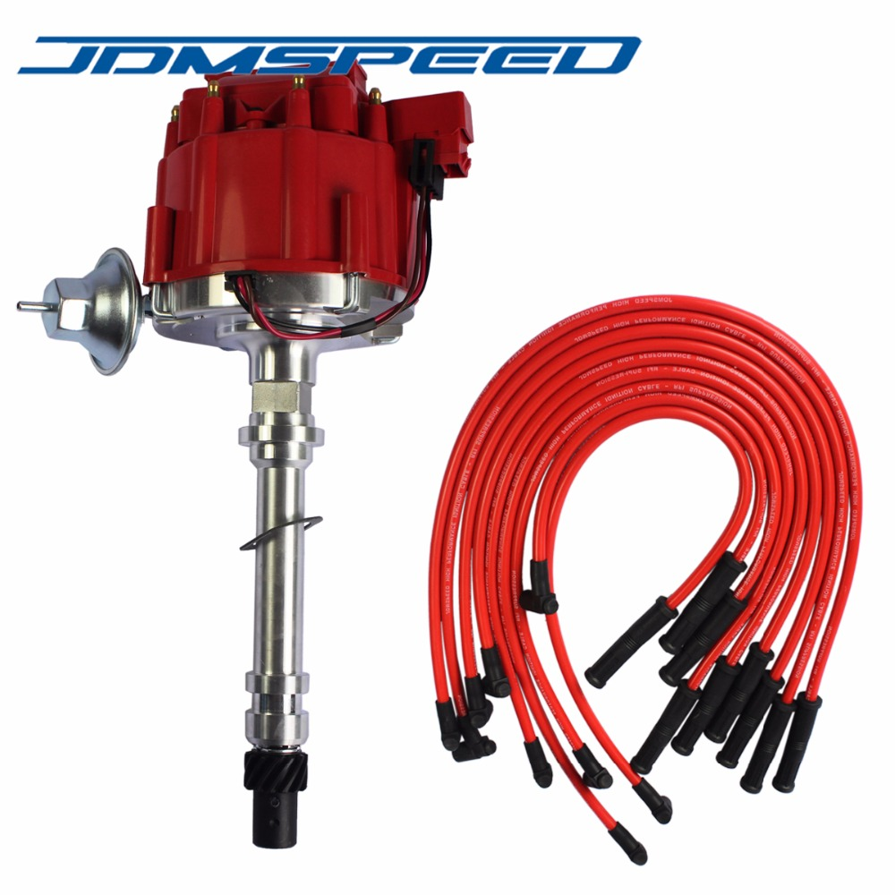free shipping distributor with spark plug wires ignition combo kit fit for chevrolet sbc 350 [ 1000 x 1000 Pixel ]