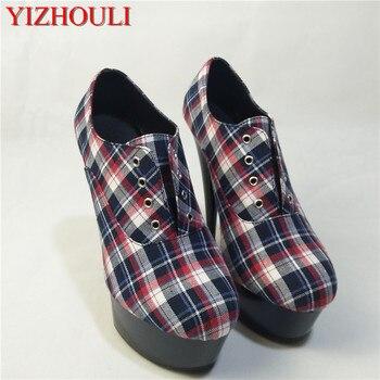 Fashionable new style super fine heel 15CM sex appeal, tartan cloth high heel, female banquet shoe