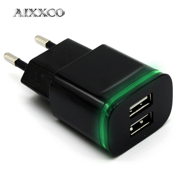 AIXXCO 5 V 2A EU プラグ Led ライト 2 Usb アダプタ、携帯電話の壁の充電器マイクロデータ充電 iPhone 5 6 アプリサムスン