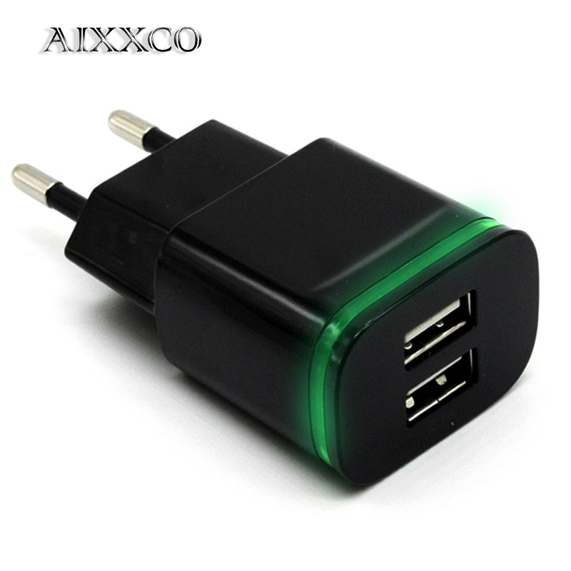 AIXXCO 5V 2A EU Plug LED Light 2 USB Adapter Mobile Phone Wall Charger Device Micro Data Charging For iPhone 5 6 iPad Samsung image